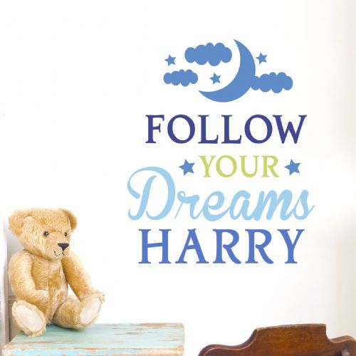 Personalised Follow Your Dreams Blue Wall Art